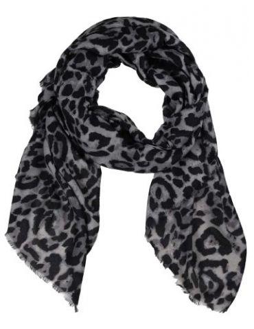 Leichter XL Damen Schal Tuch schwarz grau hellgrau Leo