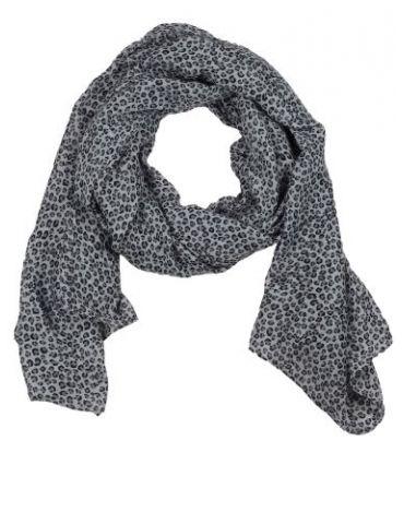 Leichter XL Damen Schal Tuch hellgrau schwarz grau kleines Leo