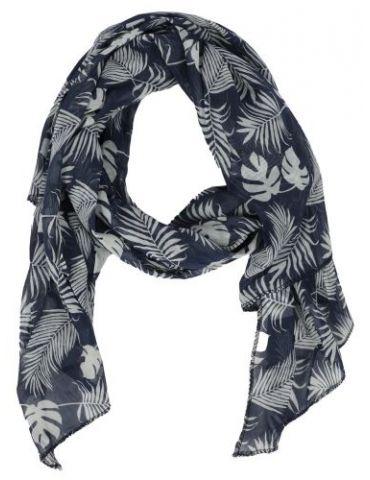Schal Tuch Loop Made in Italy Seide Baumwolle dunkelblau weiß Blätter