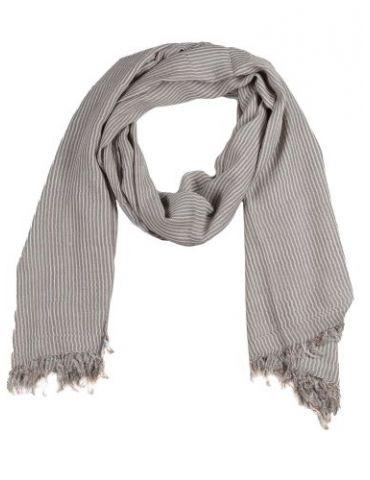 Herren Schal Tuch beige weiß Streifen Baumwolle