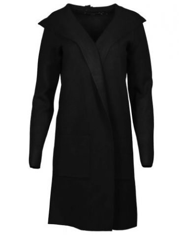 Zwillingsherz Damen Strick Mantel Jacke Kapuze schwarz black mit Viskose