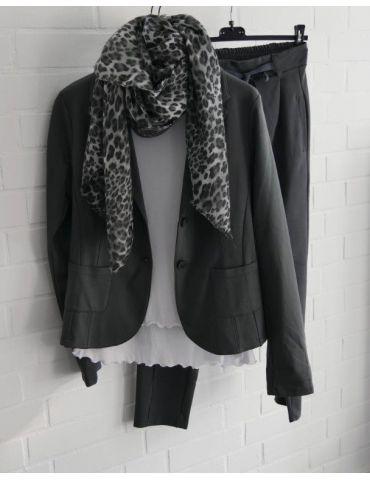 Leichter XL Damen Schal Tuch schwarz grau...