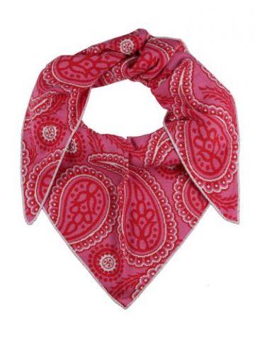 Zwillingsherz Dreieckstuch Schal pink rot creme mit Baumwolle Paisly