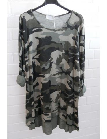 ESViViD Damen Tunika Shirt A-Form schwarz oliv helloliv Camouflage langarm Baumwolle Onesize 38 - 44 3295