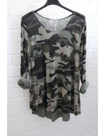 ESViViD Damen Shirt A-Form langarm schwarz oliv helloliv Camouflage Baumwolle Onesize 38 - 44 2984