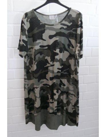 ESViViD Damen Tunika Shirt A-Form schwarz oliv helloliv Camouflage kurzarm Baumwolle Onesize 38 - 44 3479