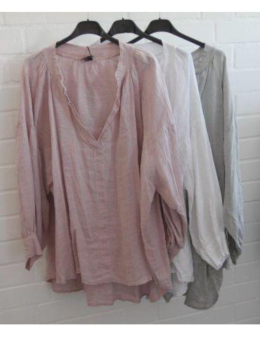 Xuna Oversize Damen Bluse Shirt 100% Leinen...