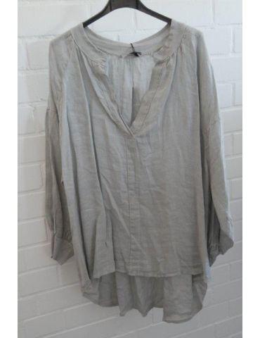 Oversize Damen Bluse Shirt 100% Leinen hellgrau taupe Ballonärmel Onesize 38 - 48