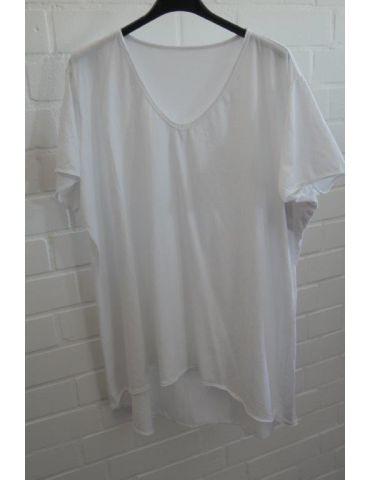 Damen Shirt A-Form kurzarm weiß white V-Ausschnitt Baumwolle Onesize 38 - 46