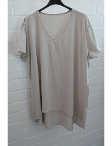 Damen Shirt A-Form kurzarm beige sand V-Ausschnitt Baumwolle Onesize 38 - 46