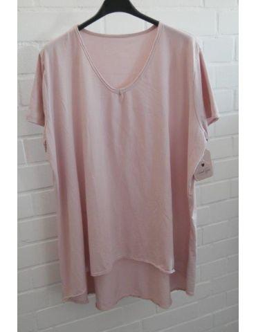 Damen Shirt A-Form kurzarm rose rosa V-Ausschnitt Baumwolle Onesize 38 - 46