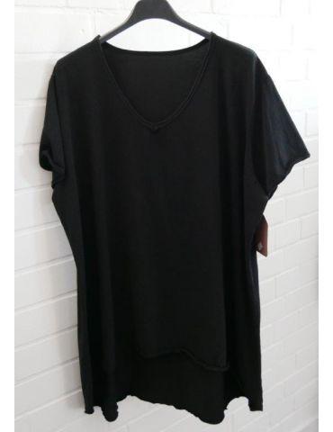 Damen Shirt A-Form kurzarm schwarz black V-Ausschnitt Baumwolle Onesize 38 - 46