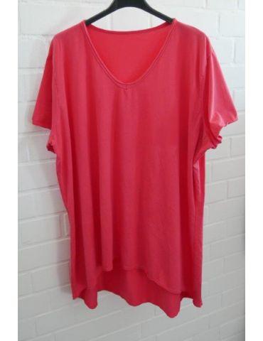 Damen Shirt A-Form kurzarm rot koralle V-Ausschnitt Baumwolle Onesize 38 - 46
