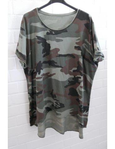 Damen Shirt A-Form kurzarm schwarz oliv helloliv braun Camouflage Baumwolle Onesize 38 - 46