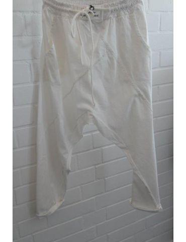 Bequeme Sportliche Damen Hose Baggy weiß white mit Lyocell Onesize 38 40
