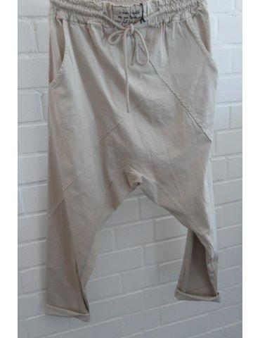 Bequeme Sportliche Damen Hose Baggy beige mit Lyocell Onesize 38 40