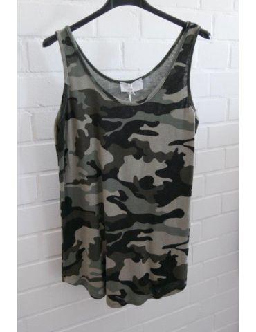 ESViViD Damen Top Shirt schwarz oliv helloliv Camouflage mit Baumwolle Onesize 38 - 42 3502