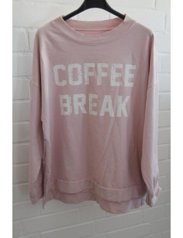 "Damen Sweat Shirt langarm rose weiß ""Coffee Break"" Baumwolle Onesize 38 - 42"