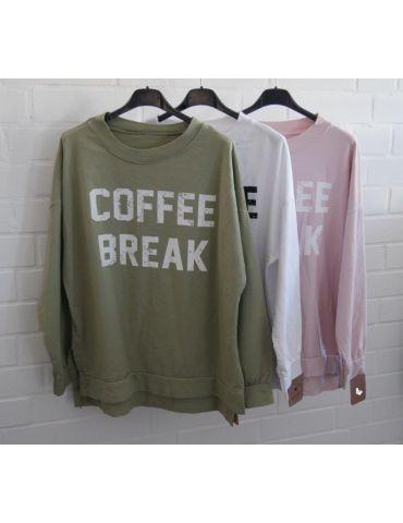 """Damen Sweat Shirt langarm lindgrün weiß """"Coffee..."""