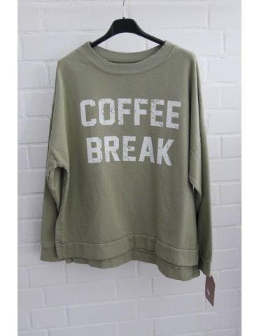 "Damen Sweat Shirt langarm lindgrün weiß ""Coffee Break"" Baumwolle Onesize 38 - 42"