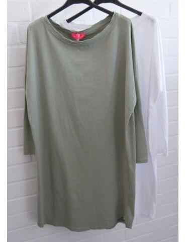 Damen Tunika Shirt langarm schmal weiß white...