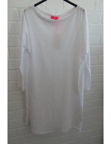 Damen Tunika Shirt langarm schmal weiß white Baumwolle Onesize ca. 38 - 42
