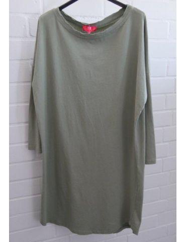 Damen Tunika Shirt langarm schmal helloliv lindgrün Baumwolle Onesize ca. 38 - 42