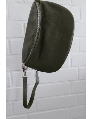 Damen Echt Leder Gürtel Tasche Handtasche Bauchtasche oliv grün uni Gr. L