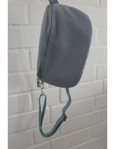 Damen Echt Leder Gürtel Tasche Handtasche Bauchtasche bleu uni Gr. M