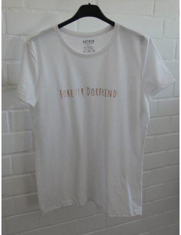 """Damen Statement Shirt """"Forever Dorfkind"""" kurzarm weiß bronze Baumwolle"""