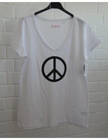 Damen Shirt kurzarm weiß schwarz Glitzer Peace Baumwolle