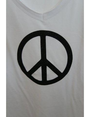 Damen Shirt kurzarm weiß schwarz Glitzer Peace...
