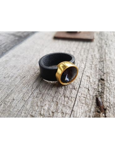 Ring Damenring Echtes Leder Metall gold schwarz...