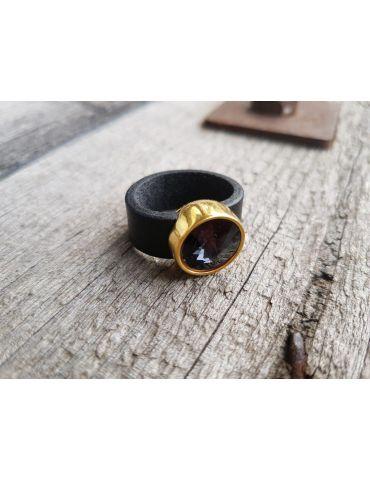 Ring Damenring Echtes Leder Metall gold schwarz Strass Stein