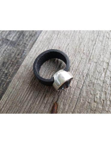 Ring Damenring Echtes Leder Metall silber...