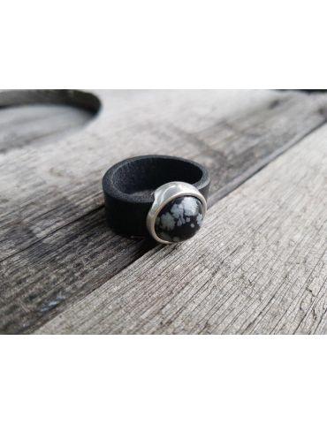 Ring Damenring Echtes Leder Metall silber schwarz grau Kunststoff Stein
