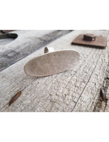 Ring Damenring Metall altsilber silber oval verstellbar