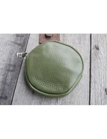 Portemonnaie Geldbörse Börse Taschenanhänger rund oliv grün Echtes Leder