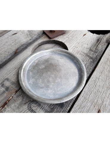Dekotablett Unterteller Metall Tablett Teelicht silber Zink Vintage rund 13,5 cm
