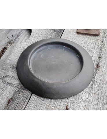 Dekotablett Unterteller Metall Tablett schwarz rund 14 cm