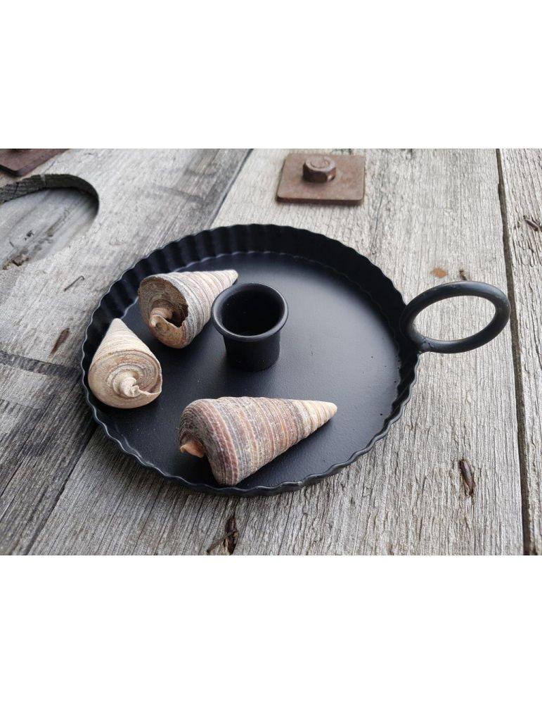 Kerzenständer Kerzenhalter Metall schwarz black rund geriffelt