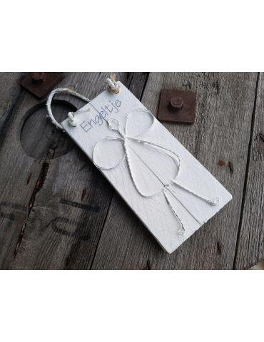 Holzbild mit Draht Engel Schutzengel weiß white