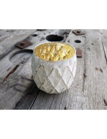 Teelicht Teelichtglas Kerze Glas creme gold Muster