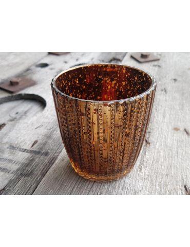 Teelicht Teelichtglas Kerze Glas bronze braun Muster