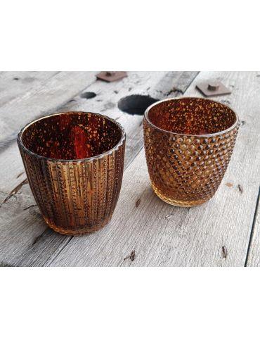 Teelicht Teelichtglas Kerze Glas bronze braun...