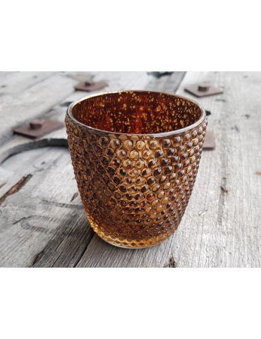 Teelicht Teelichtglas Kerze Glas bronze braun Punkte