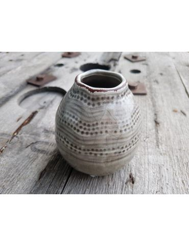 Vase Blumenvase Keramik Porzellan taupe beige Muster Vintage
