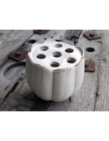 Vase Blumenvase Keramik Porzellan creme braun für Einzelblumen