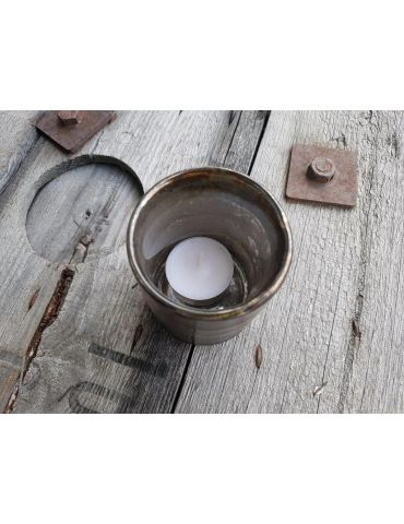 Teelicht Teelichtglas Kerze Glas braun schwarz...