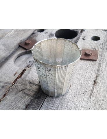 Teelicht Teelichtglas Kerze Glas gerade beige silber Vintage